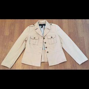 Apostrophe Petite Jacket Tan Khaki Button Front